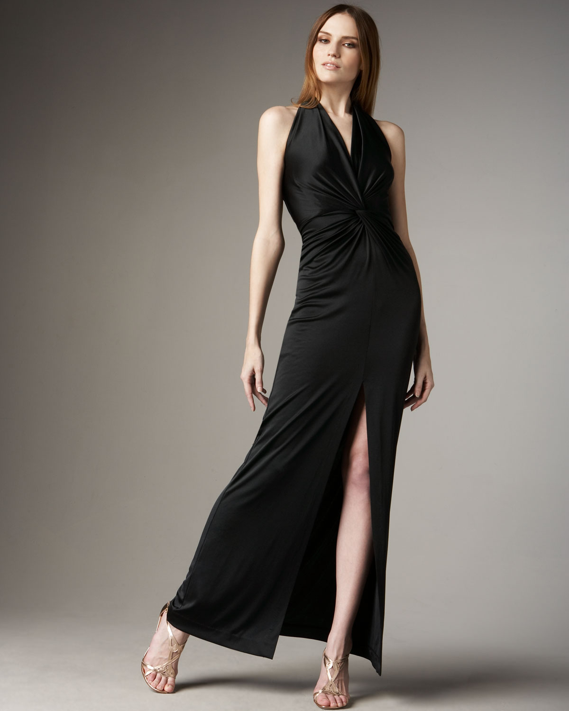 Halston Long-slit Halter Gown in Black  Lyst
