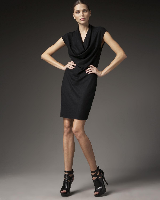 Cowl Neck Hooded Dress: Helmut Lang Sonar Cowl-neck Dress In Black