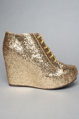 Jeffrey Campbell The 99 Tie Shoe in Gold Glitter