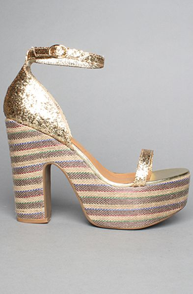 Jeffrey Campbell The Lick Shoe In Gold Glitter In Gold Lyst