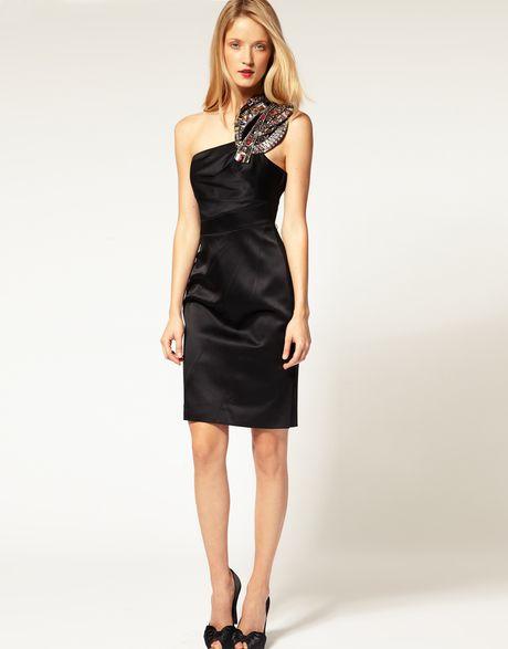 Karen millen one shoulder dress with modern jewellery beading detail