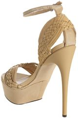 L.a.m.b. Tan Leather Kesha Woven Platform Sandals in Brown (tan) - Lyst