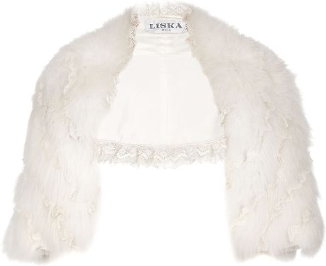 Liska Polar Fox Fur Bolero Jacket in White