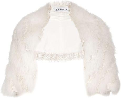 Liska Polar Fox Fur Bolero Jacket in White