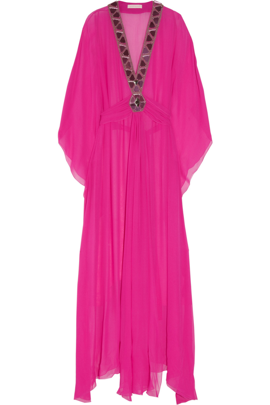 Matthew Williamson Embellished Silk Georgette Maxi Kaftan