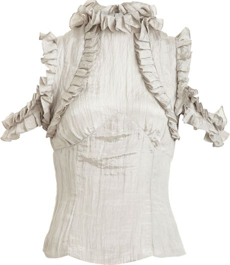 Rodarte X Opening Ceremony Crinkled Top in White (ivory) - Lyst