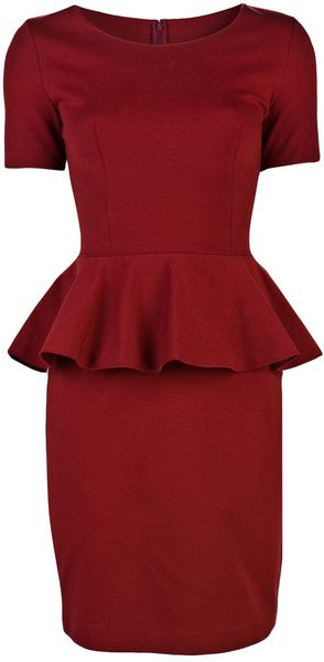 Stella Mccartney Peplum Dress in Red - Lyst