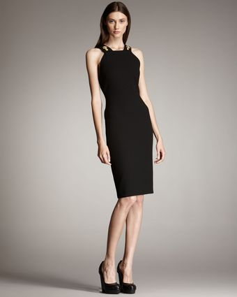 Versace Medusa Buttoned Sheath Dress - Lyst