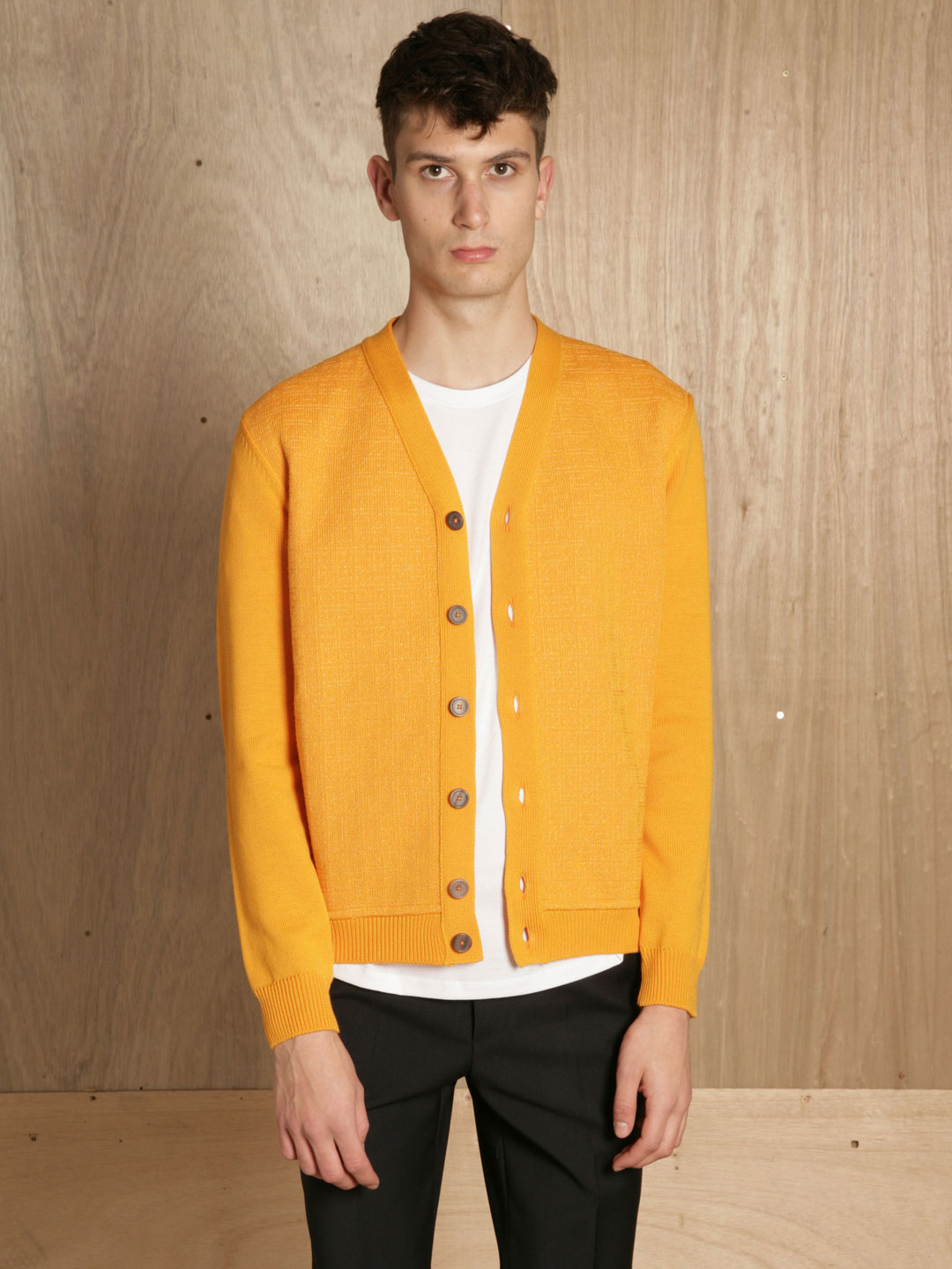 jil sander mens stitch cardigan in yellow for men lyst. Black Bedroom Furniture Sets. Home Design Ideas