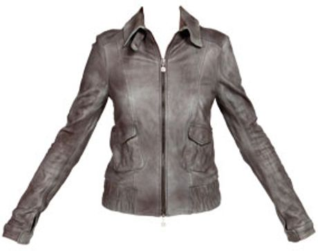 Patrizia Pepe Leather Jacket in Gray (pearl grey) | Lyst