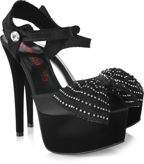 Pedro Garcia Natalie Swarovski Crystal and Satin Sandals in Black - Lyst