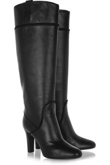 Yves Saint Laurent Passy Leather Knee Boots - Lyst