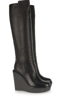 Yves Saint Laurent Wedge Leather Knee Boots - Lyst