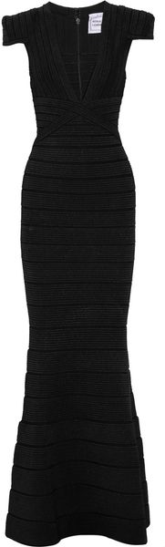 Hervé Léger Beaded Bandage Gown in Black - Lyst