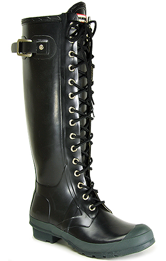 Hunter Watling - Black Rubber Lace Up Rain Boot in Black | Lyst