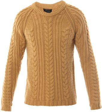 Burberry Prorsum Cable Crew Neck Jumper - Lyst