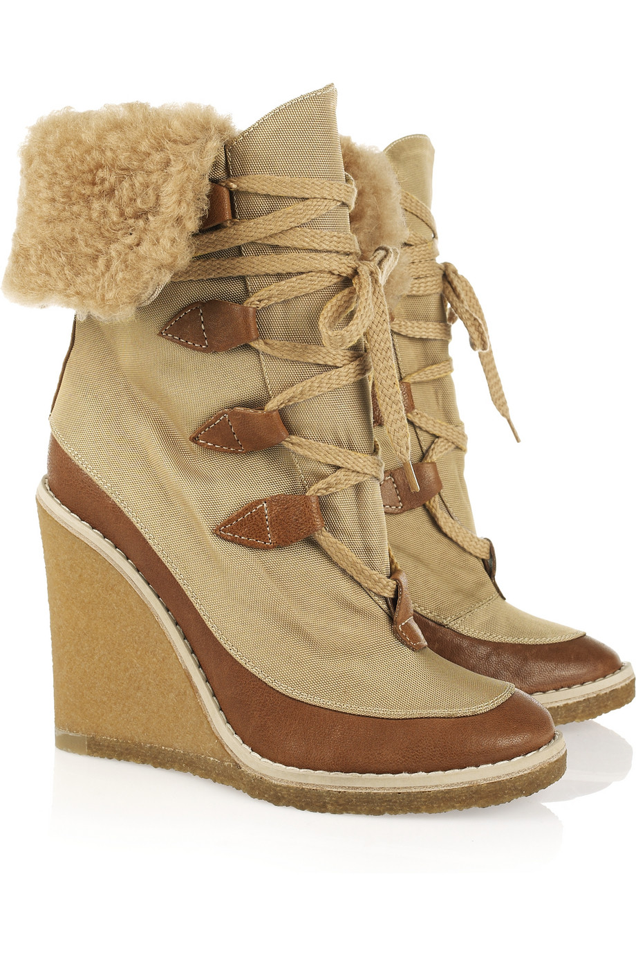 chlo 233 canvas and leather wedge ankle boots in lyst