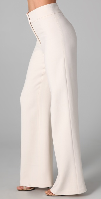 Halston High Waisted Wide Leg Pants in White | Lyst