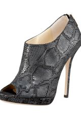 Jimmy Choo Pixelated Snake-print Peep-toe Bootie - Lyst