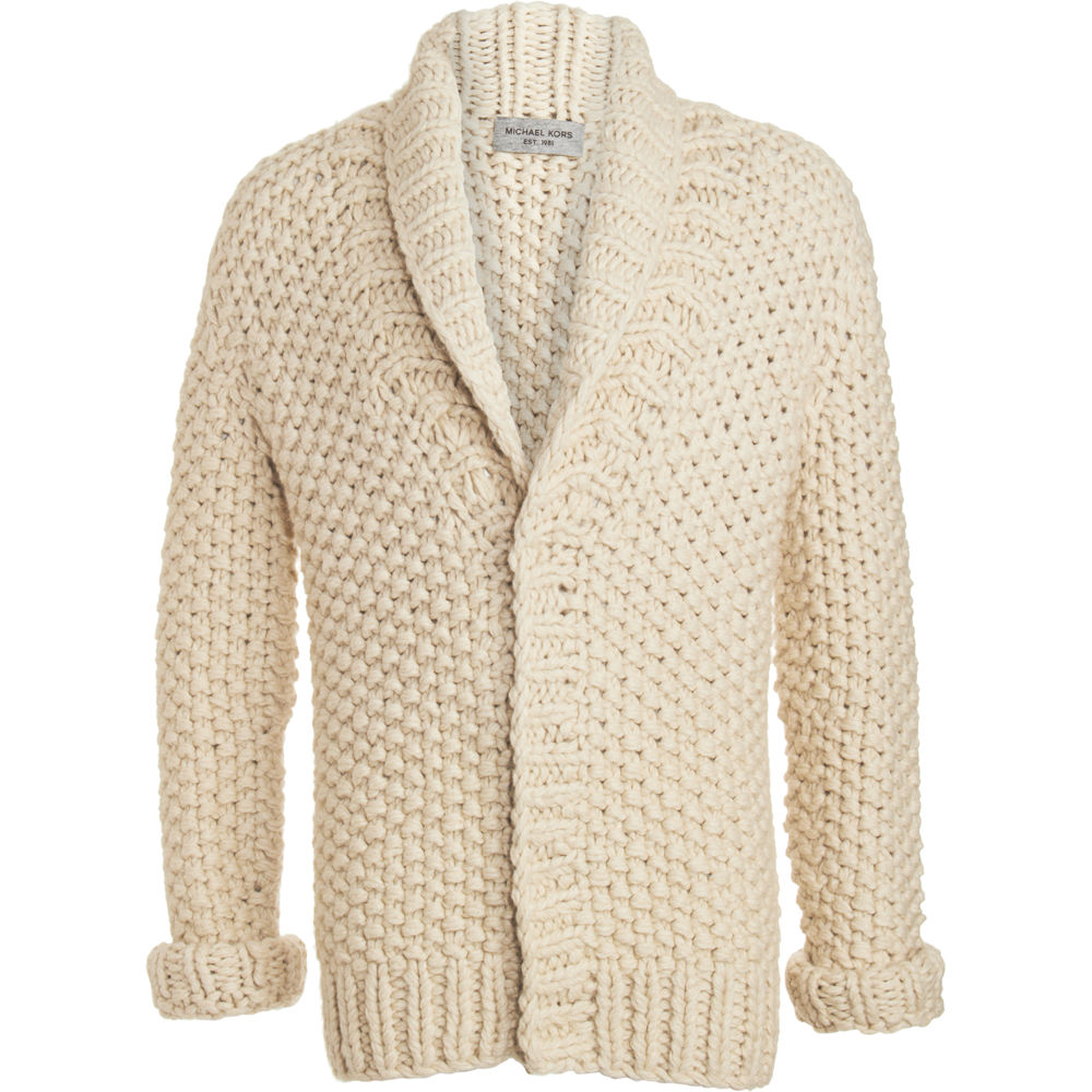 Michael Kors Chunky Knit Cardigan In Beige For Men Lyst