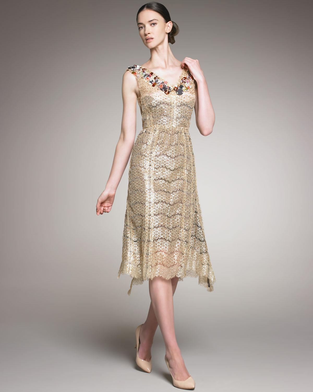 Nina Ricci Beaded Neck Lace Dress In Gold Lyst