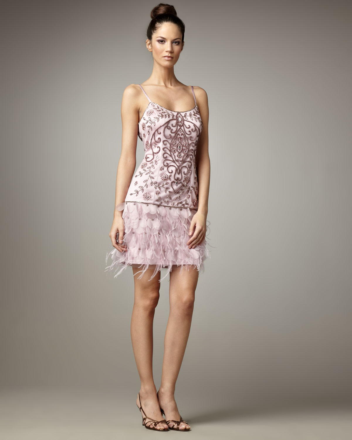 Lyst - Sue Wong Beaded Feather Skirt Dress in Purple