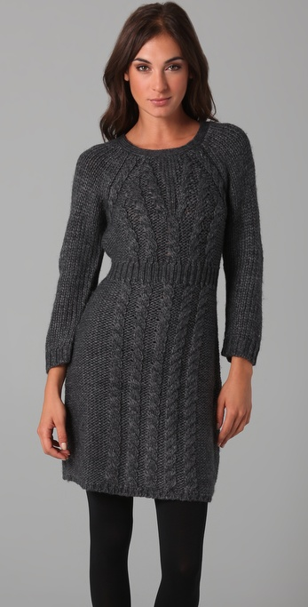 Lyst Tibi Cable Knit Sweater Dress In Gray