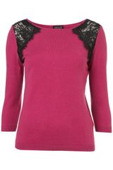 Topshop Knitted Shoulder Lace Top in Purple (magenta) - Lyst