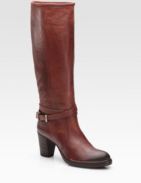 alberto fermani leather belted knee high boots in brown lyst