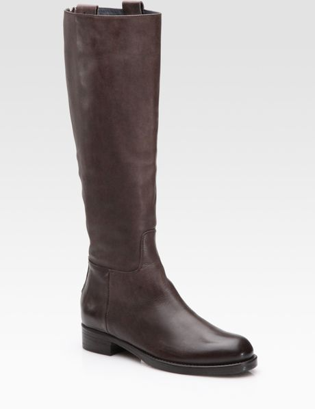 alberto fermani leather knee high boots in brown lyst