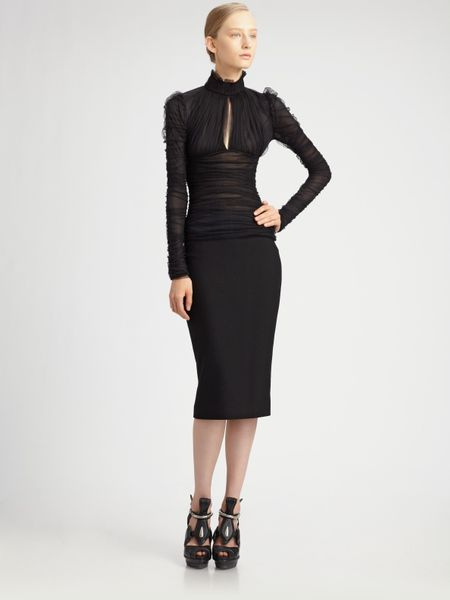 Alexander Mcqueen Ruched Gauze Jersey Top in Black - Lyst