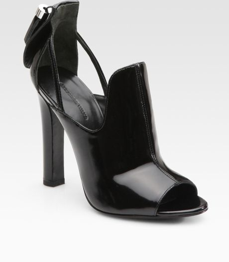 Alexander Wang Agnete Patent Leather Dorsay Peep Toe Ankle Boots in Black - Lyst