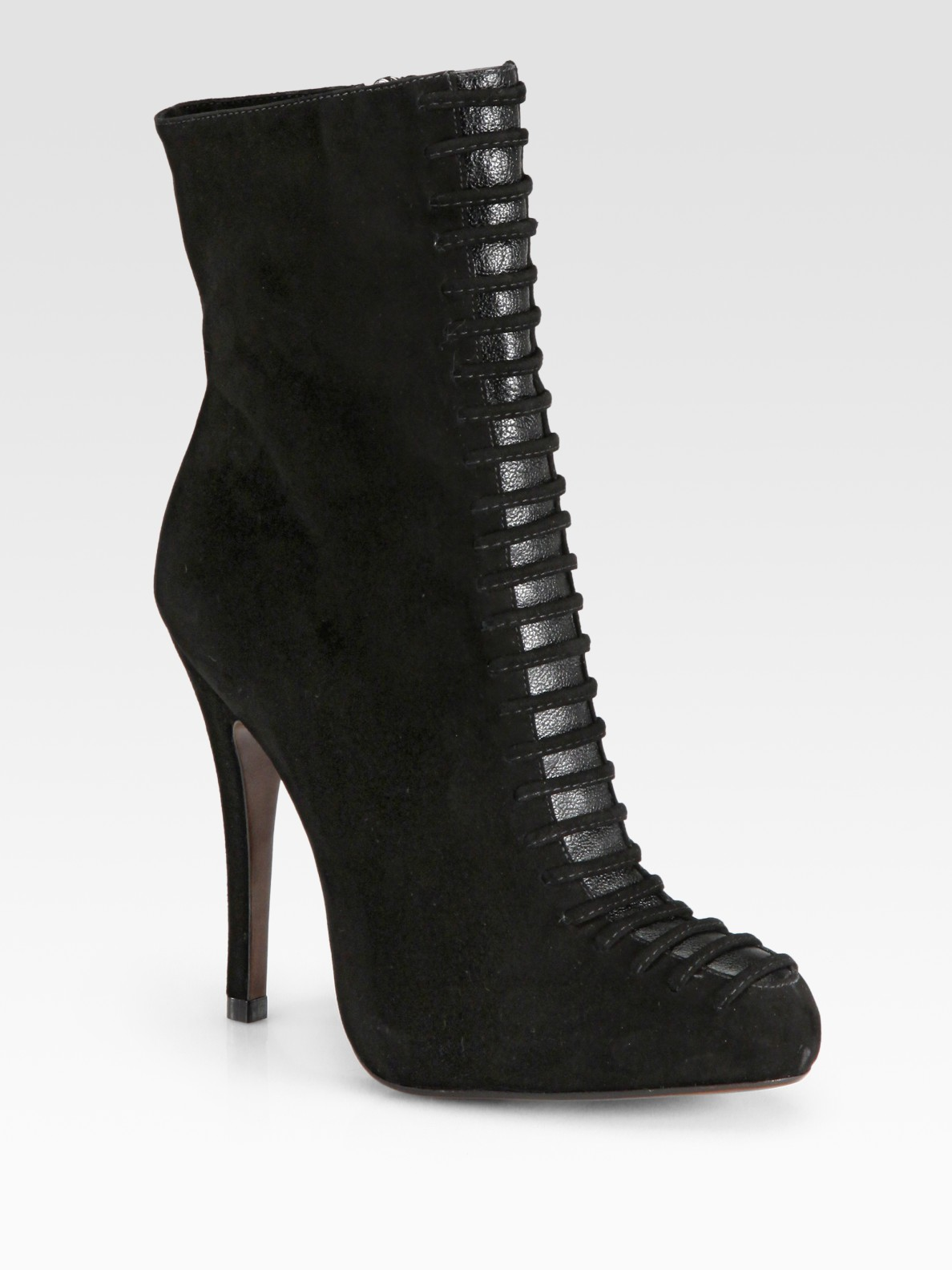 alexandre birman suede lace up ankle boots in black lyst