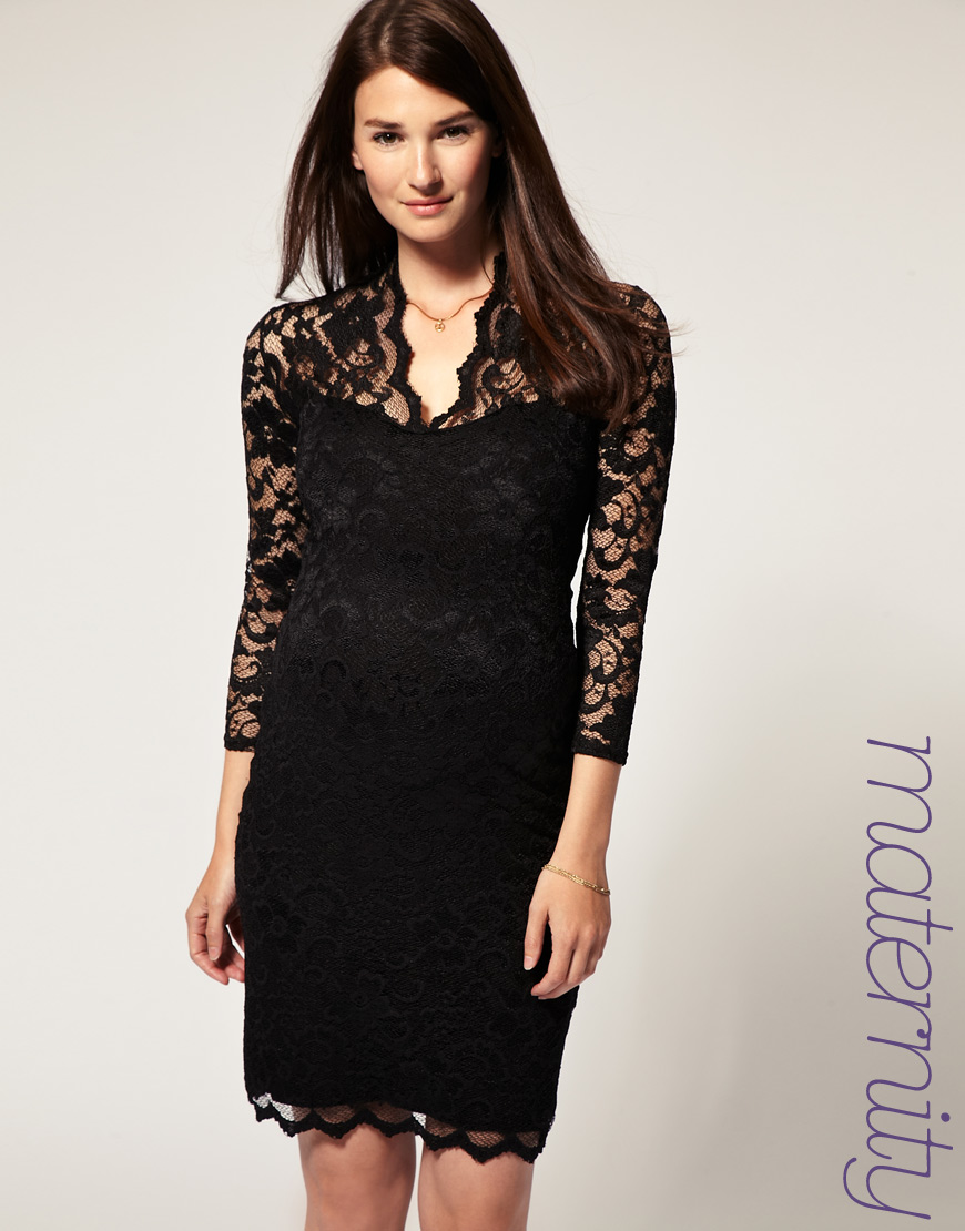 ab89905047989 ASOS Collection Asos Maternity Katie Lace Dress in Black - Lyst
