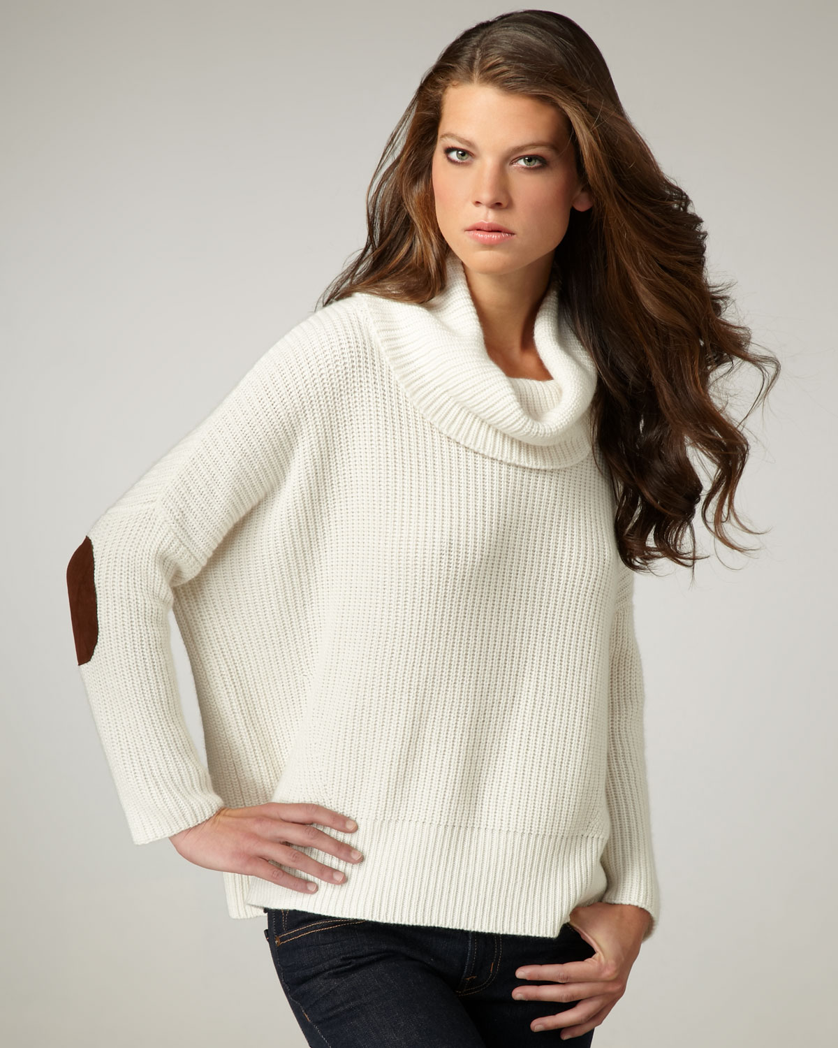 Autumn cashmere Elbow-patch Cowl-neck Sweater in White | Lyst