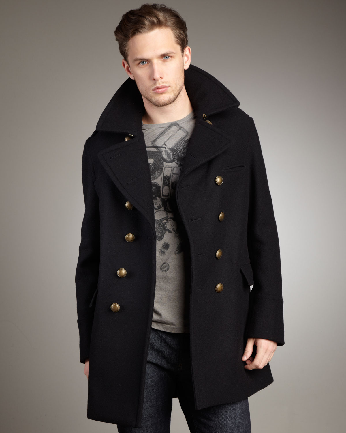 matching in colour latest fashion exceptional range of styles Burberry Brit Dome-button Peacoat in Black for Men - Lyst