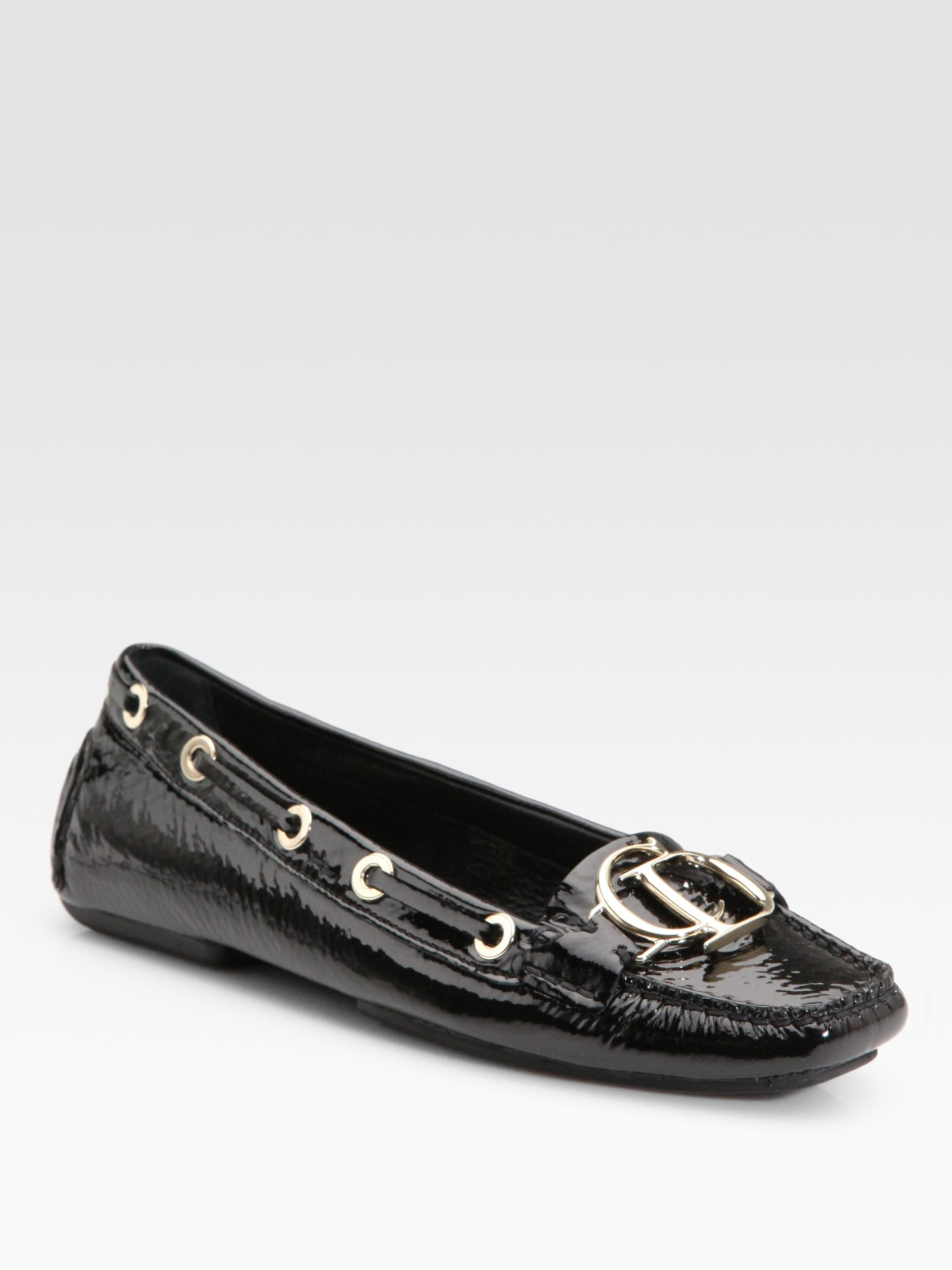 bbd1e711f64 Lyst - Dior Black Patent Leather Cd Loafers in Black