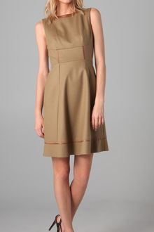 Elie Tahari Callie Dress with Leather Trim - Lyst