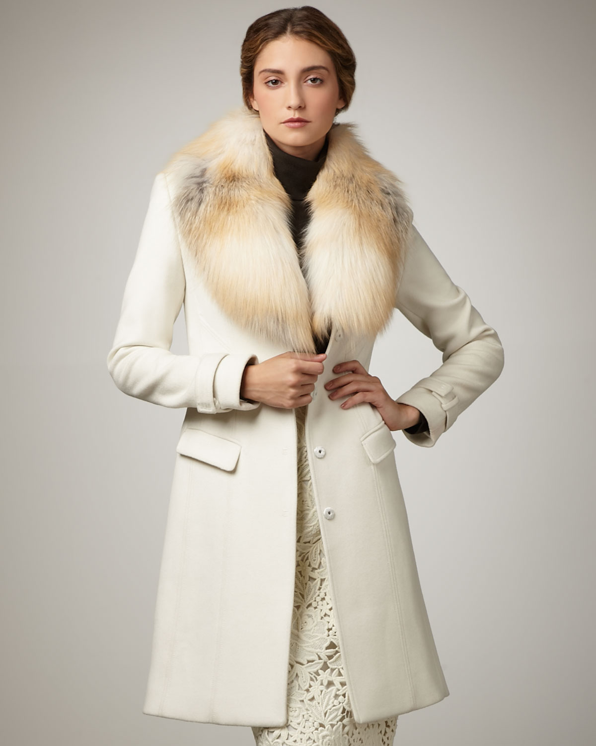 Elie tahari Joanne Fur-trim Coat in White | Lyst