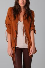 Elizabeth And James Suede Jacket with Fringe - Lyst
