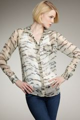 Equipment Brett Crocodile-printed Silk Blouse - Lyst
