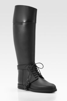 Givenchy Black Rubber Buckle Detail Rain Boots - Lyst