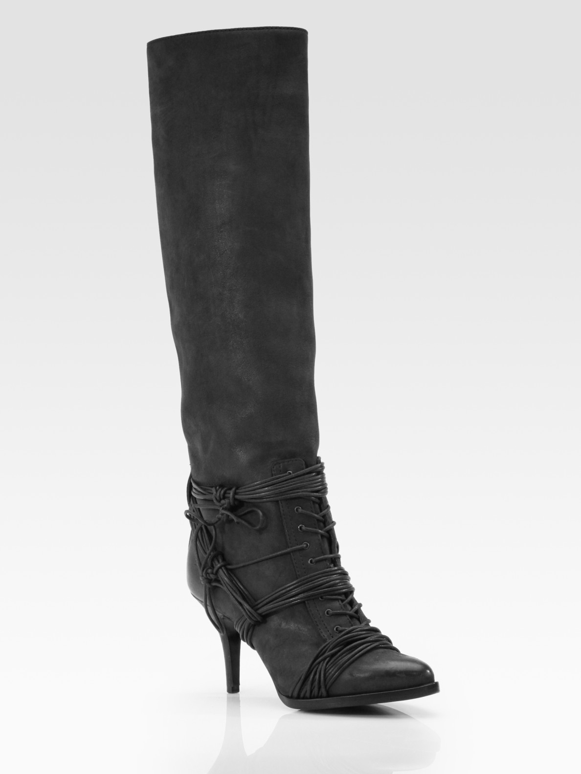 givenchy leather lace up knee high boots in black lyst