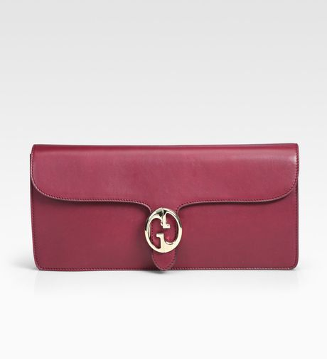 Gucci Leather Clutch in Pink (cherryred) - Lyst