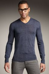 John Varvatos Broken-stripe Merino Sweater - Lyst