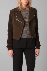 Maison Martin Margiela Moto Jacket with Knit Sleeves - Lyst