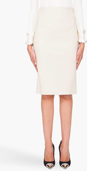 marc wool pencil skirt in beige ivory lyst