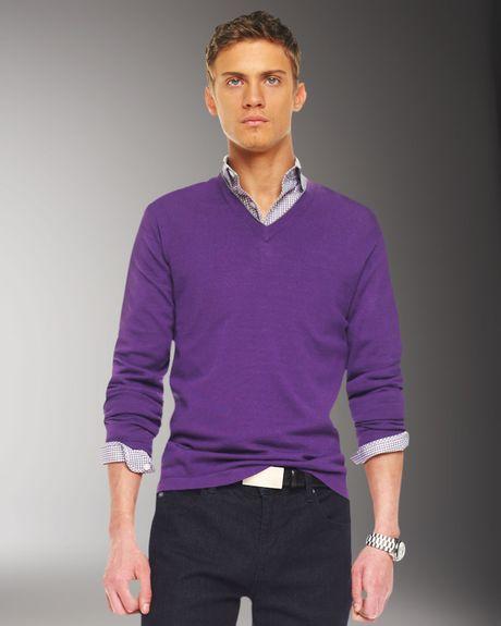 Michael Kors Tipped V-neck Sweater in Purple for Men