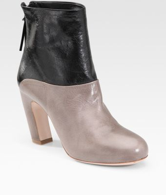 Miu Miu Two-tone Leather Ankle Boots - Lyst