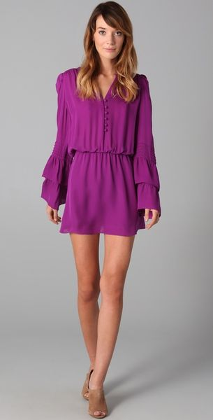 Parker Double Flared Sleeve Dress in Purple (violet) - Lyst